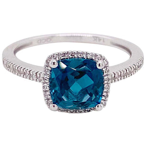 2 Carat London Blue Topaz & Diamond Halo Ring 14K White Gold Cushion Cut Topaz