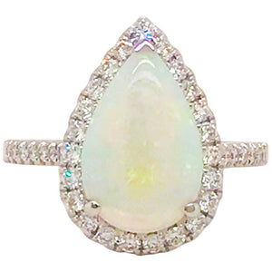 Astralian Opal & Diamond Halo Ring