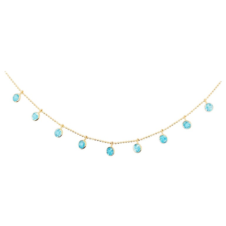 Blue Topaz Gemstone Charm Necklace