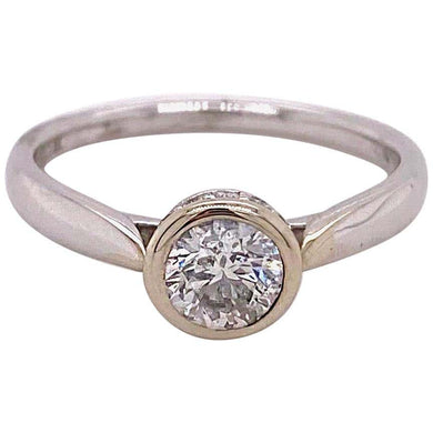 Diamond Bezel Solitaire Engagement Ring Hidden Halo .59 Carat, 14 Karat White Gold