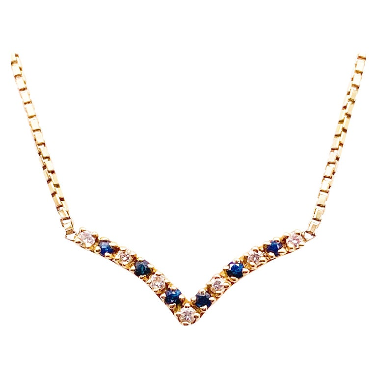 Sapphire & Diamond V Necklace in 14K Yellow Gold