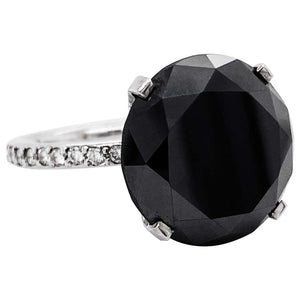 14.45 Carat Black Diamond Ring, Diamond Band and Hidden Halo, 14 Karat White Gold