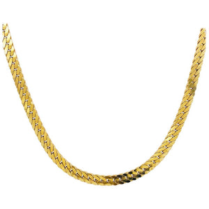 Gold Herringbone Chain in 14 Karat Yellow Gold, Flat Link Wide Chain