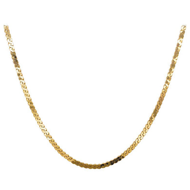 Gold Serpentine Chain in 14 Karat Yellow Gold, Flat Link Wide Chain