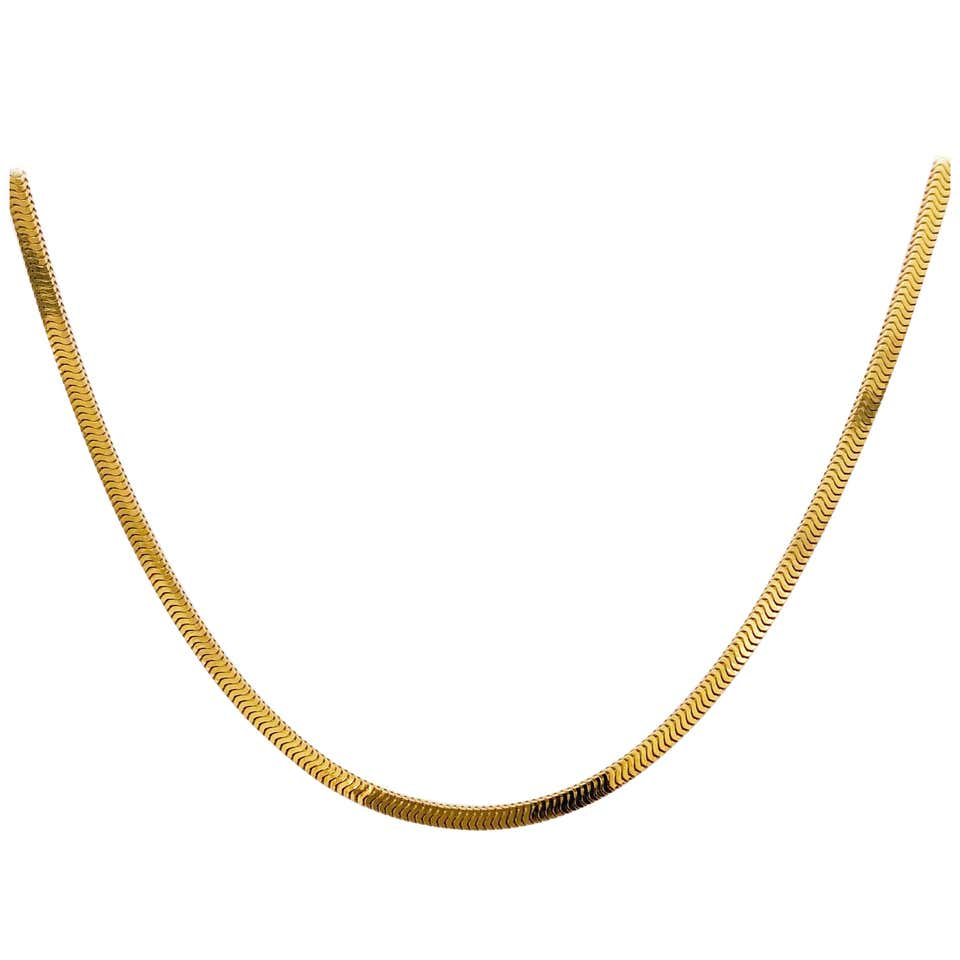 Snake Box Chain in 14 Karat Yellow Gold, Square Smooth Snake Chain