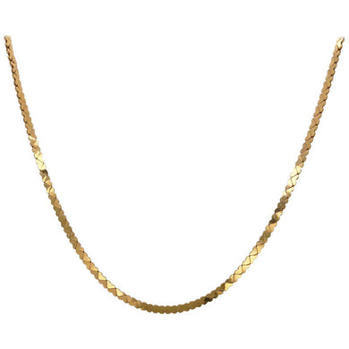 Gold Heart Chain in 14 Karat Yellow Gold, Flat Link