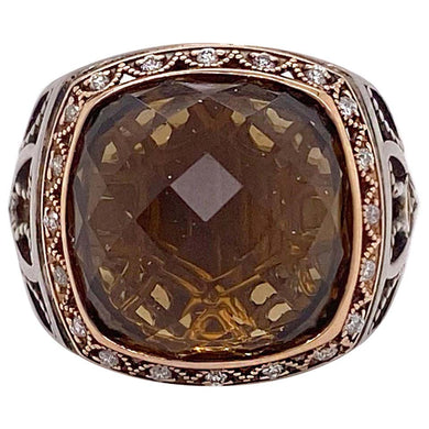 Rare Tacori Authentic Retired Smokey Quartz Ring, 18k Rose Gold and Sterling