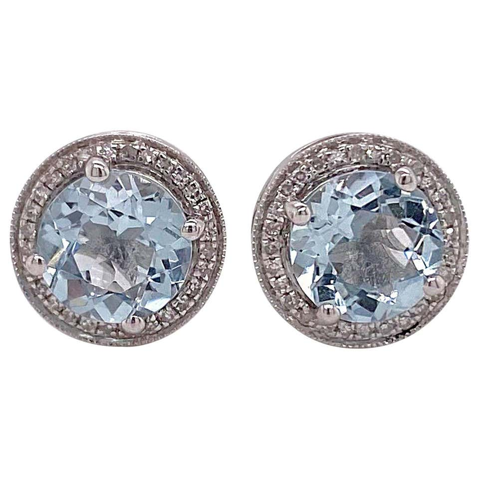 Aquamarine Diamond Studs Earrings, Halo of Diamonds, 3.3.9 Carat Aqua Stones