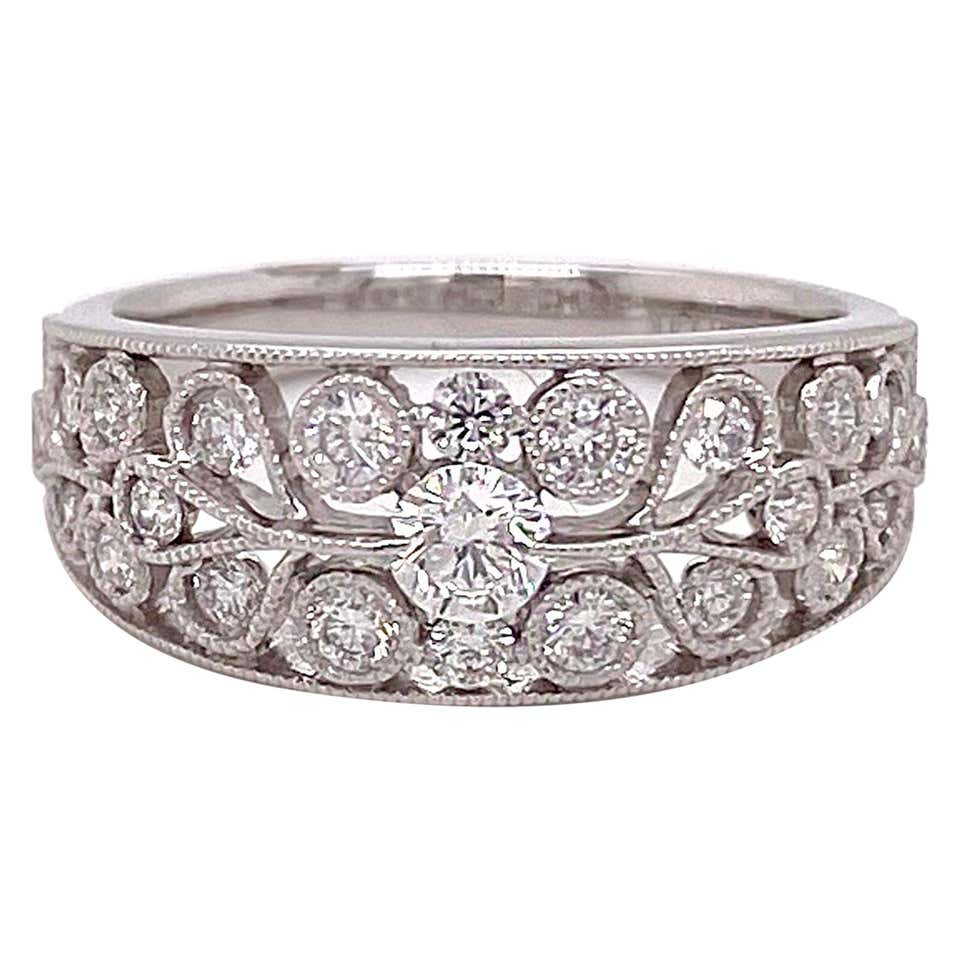 Tapered Wide Diamond Band, White Gold with 23 Diamonds .59 Carat Low Profile