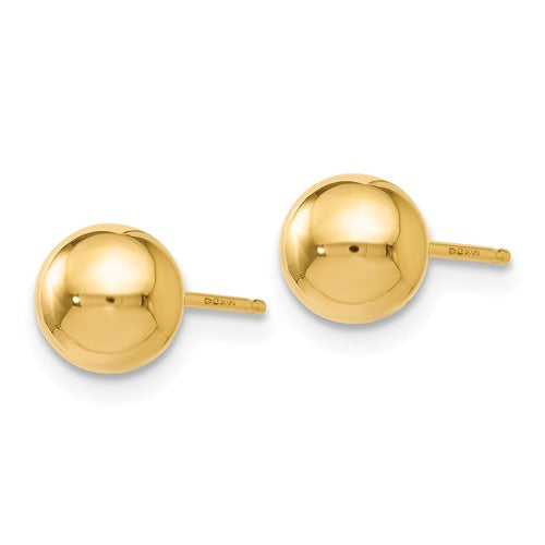 14K Gold High Polished 6mm Ball Post Earrings