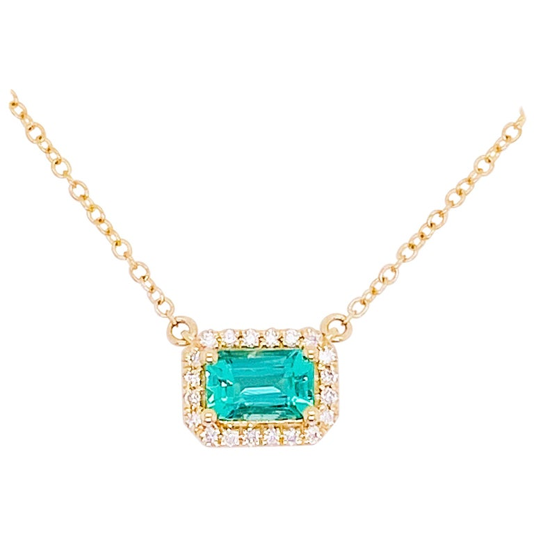 Emerald & Diamond Halo Pendant 14K Yellow Gold - Adjustable Necklace