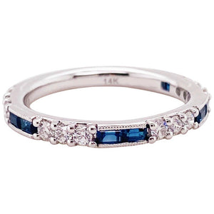 Sapphire & Diamond Band Stackable Band