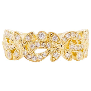Diamond Flower Ring, 14 Karat Gold Floral Inspired Stackable Band