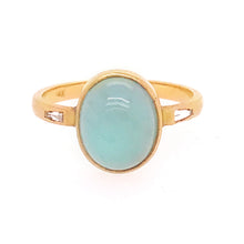 Aquamarine Cabochon & Diamond Three Stone Ring