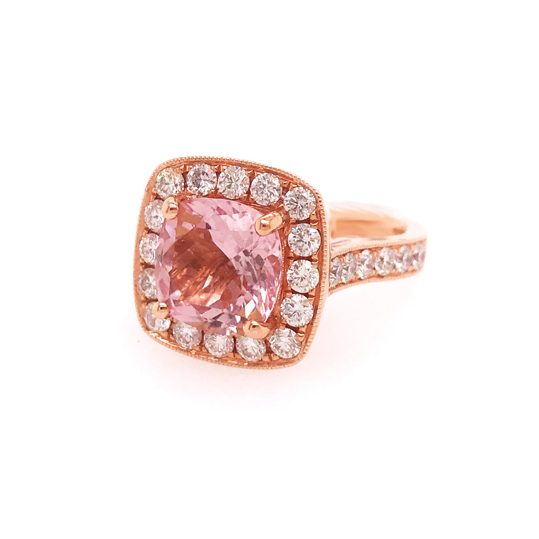 Morganite (Pink Emerald) & Diamond Halo Ring in Rose Gold
