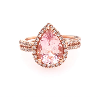 Morganite (Pink Emerald) and Diamond Criss Cross Ring in Rose Gold
