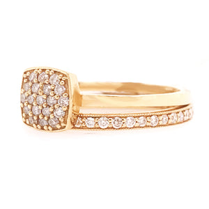 Cushion Pave Diamond Engagement Ring in Yellow Gold