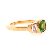 Tsavorite & Diamond Three Stone Custom Ring