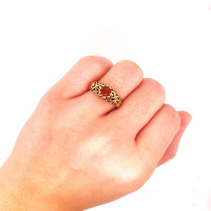 Round Garnet Estate Ring with Filigree Design