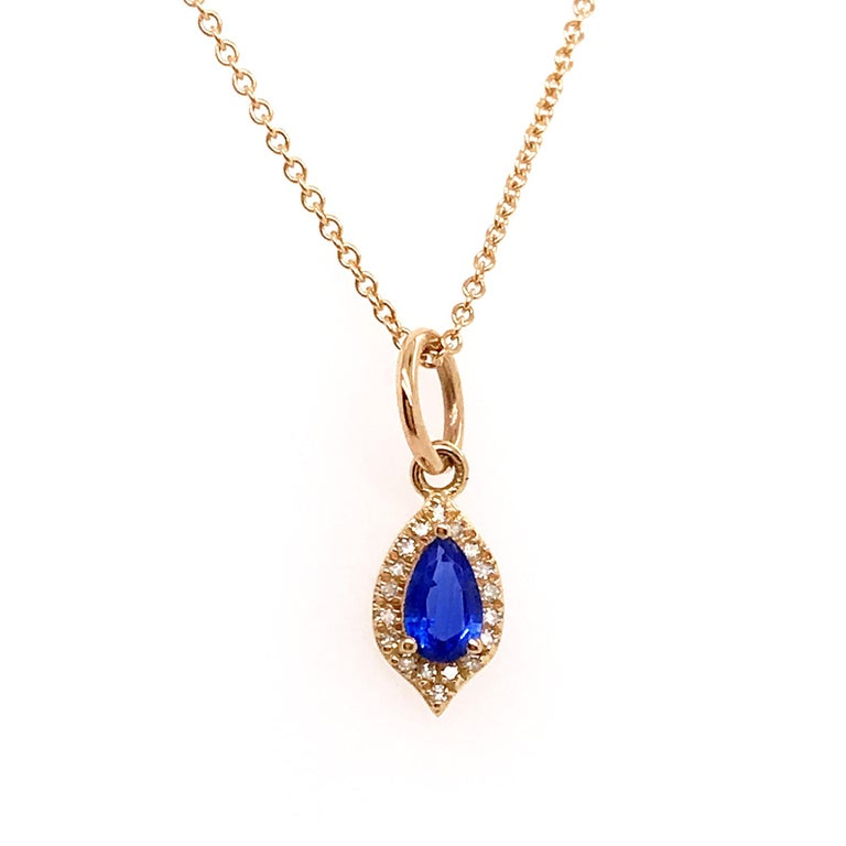 Minimalist Blue Sapphire and Diamond Halo Pendant
