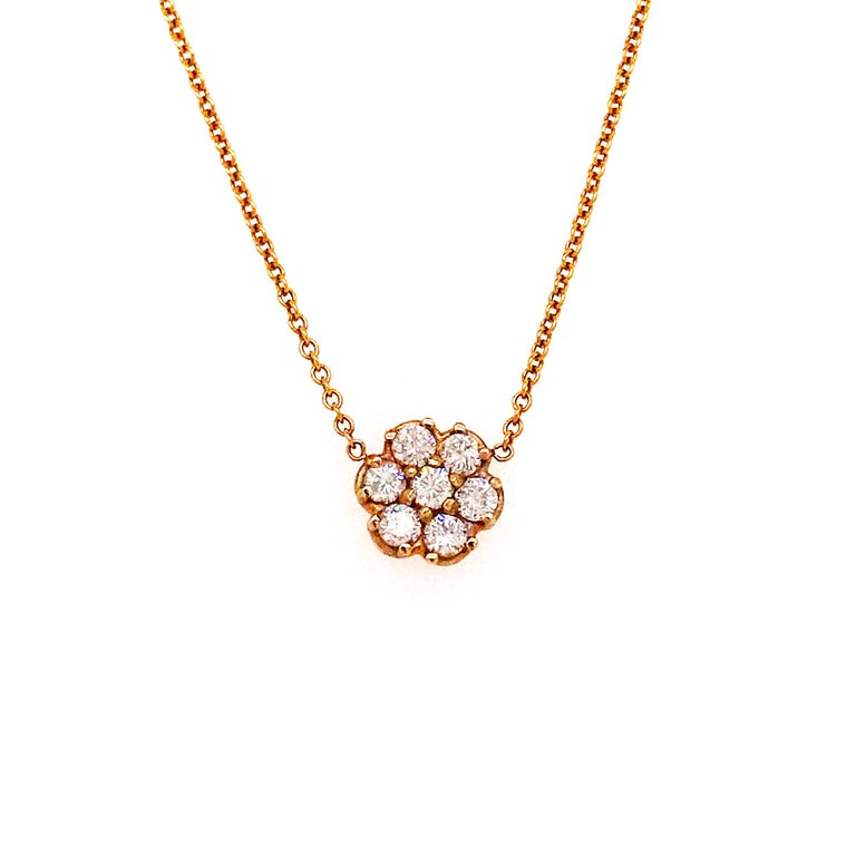 Round Brilliant Diamond Cluster Flower Necklace