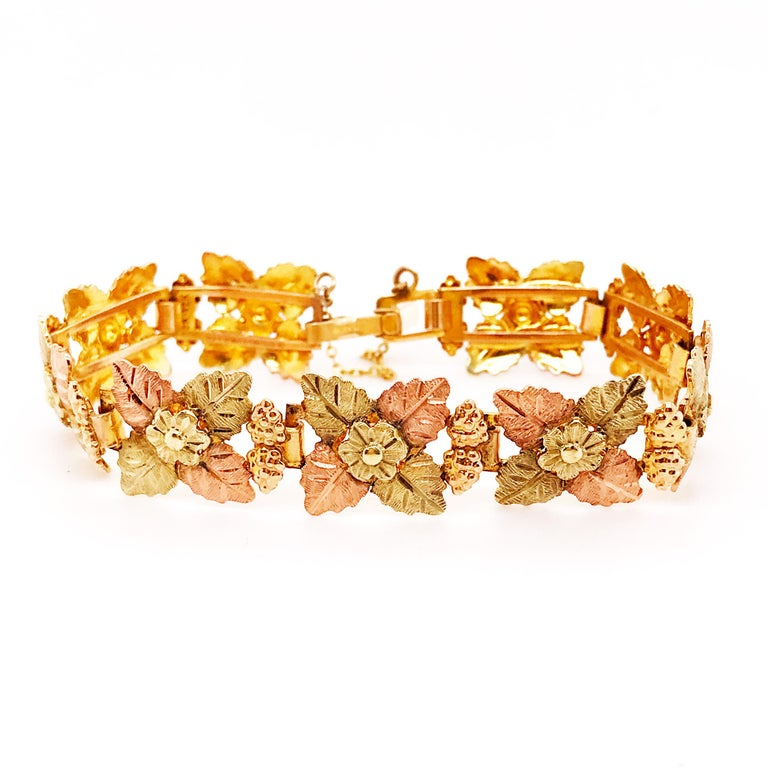 Tri-Colored Gold Leaf and Flower Bracelet, Custom Estate Piece, 14 Karat Gold