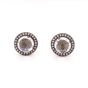 White Topaz and Diamond Earring Studs in Oxidized White Gold