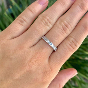 Emerald Cut Diamond Eternity Band Ring in 18 Karat White Gold
