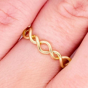 Twisted Metal Ring, 14K Yellow Gold Twisted Stackable Band
