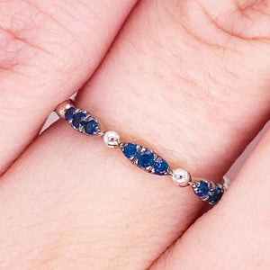 Blue Sapphire 14 Karat Gold Cluster Stackable Ring Band