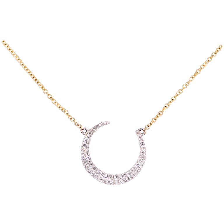 Pave Diamond Crescent Moon 14K Yellow Gold Necklace