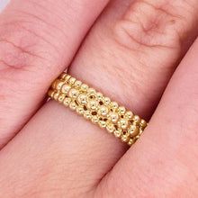 14 Karat Gold Three-Row Beaded Ring Band
