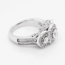 Halo Diamond Three-Stone 14 Karat White Gold Engagement Ring,