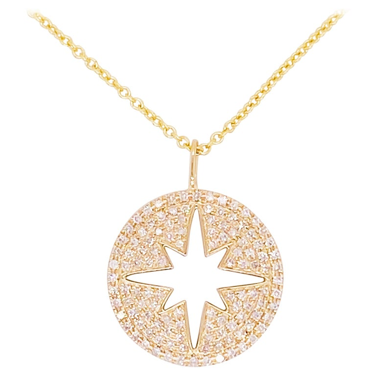 North Star Diamond Necklace 14K Yellow Gold Compass Design with 14kt Chain