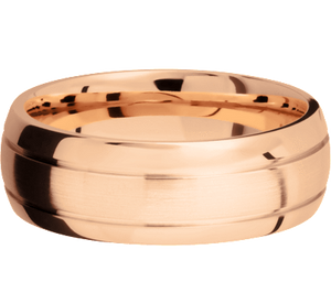 Classic Men's Wedding Band with Accent Grooves in 14k Gold