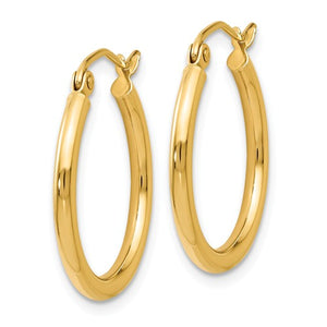 14K Gold High Polished Hoop Earrings