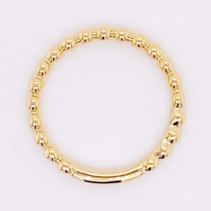 Gold Beaded Ring, 14 Karat Yellow Gold Beaded Stackable Ring Band