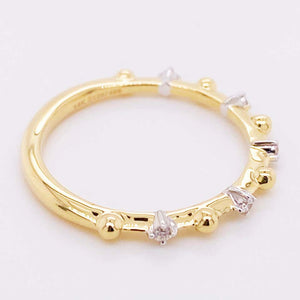 Alternating Diamond Ring, 14 Karat Gold Diamond and Ball Bead Band