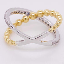 X-Diamond Ring, 14K Gold Mixed Metal Bead Criss Cross Ring