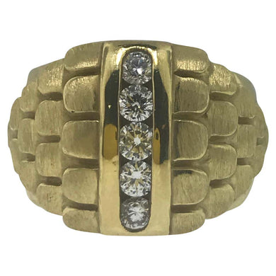 Channel Diamond Gold Dome Ring