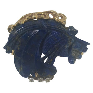 Lapis Lazuli and Diamond Estate Horse Pin