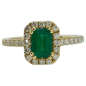 Emerald and Diamond Halo Engagement Ring