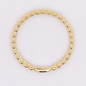 Gold Beaded Ring, 14 Karat Yellow Gold Beaded Stackable Band