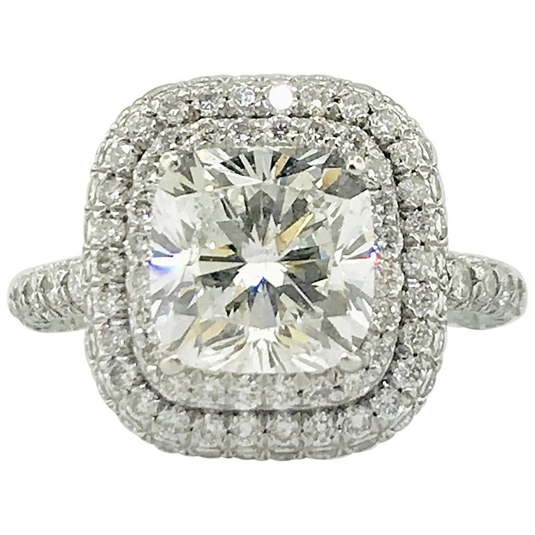 Cushion Double Halo Diamond Engagement Ring