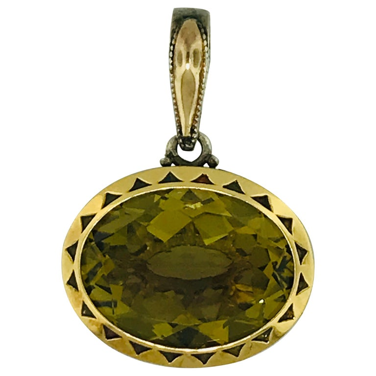 Tacori Olive Quartz Pendant in Sterling Silver and Gold