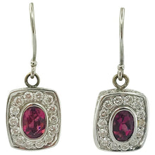 Pink Tourmaline & Diamond Earrings, Diamond Halo in 18 K White Solid Gold