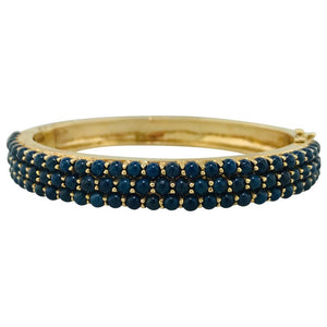 Genuine Blue Lapis Yellow Gold Bangle Bracelet