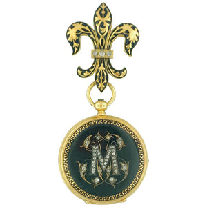 "Antique CIRCA 1800 French Diamond ""M"" & Fluer de Lis Watch Pin, 18 Karat Gold Estate Piece"