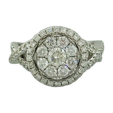 1.00 Carat Pave Diamond and Halo Diamond Engagement Ring in 14 Karat White Gold