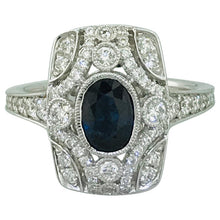 Sapphire and Diamond Antique-Style Ring